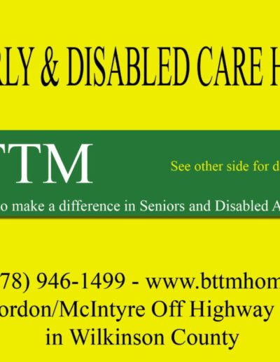 Rack card for a personal care home